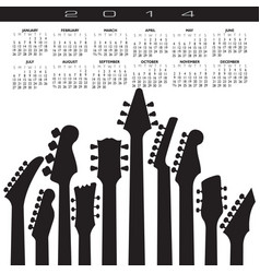 2014 guitar headstock calendar vector