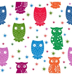 Multicolour owl and stars seamless pattern vector