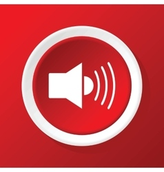 Loudspeaker icon on red vector