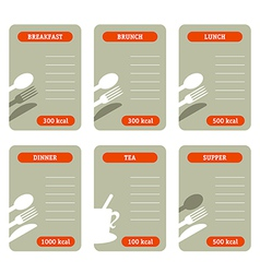 Meal calorie cards vector