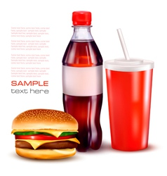 Hamburger and cola and bottle vector