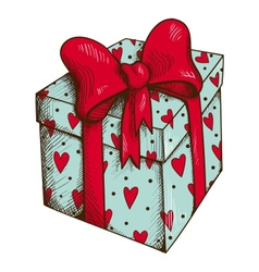 Present box with hearts and bow isolated on white vector