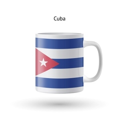 Cuba flag souvenir mug on white background vector
