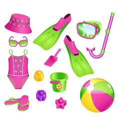 Beach accessories for girl vector