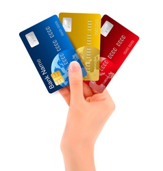 Male hand showing credit cards vector
