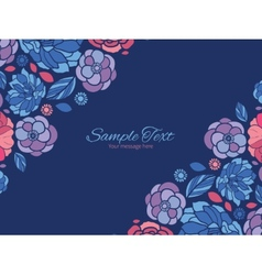 Mosaic flowers horizontal double corners vector