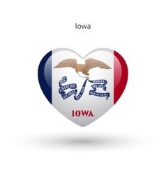 Love iowa state symbol heart flag icon vector