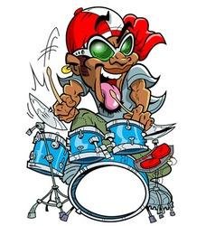 Wild drummer vector