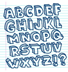 Hand drawn doodle alphabet vector