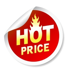 Hot price sticker badge with flame vector