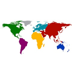 World map with colored continents vector