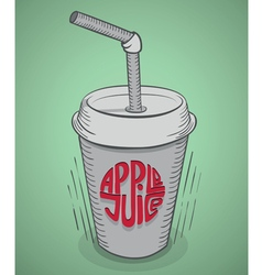 Apple juice in disposable glass with straw vector