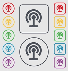 Wifi icon sign symbol on the round and square vector