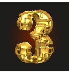 Golden letter 3 vector