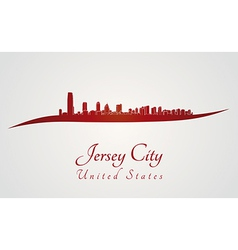 Jersey city skyline in red vector