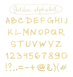 Handwritten gold alphabet vector