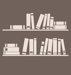 Books on the shelf interior design vintage vector