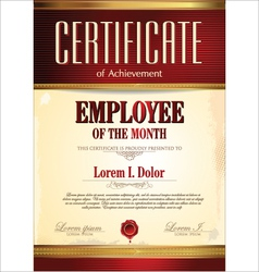 Certificate template employee of the month vector