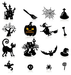 Set of 16 halloween icons with reflection on white vector