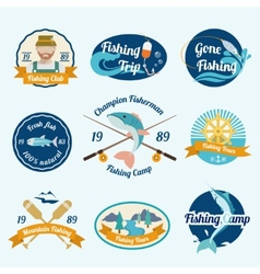 Fishing label set vector