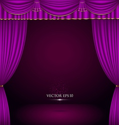 Violet and gold theater curtain classic vector