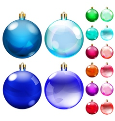 Set of opaque colored christmas balls vector