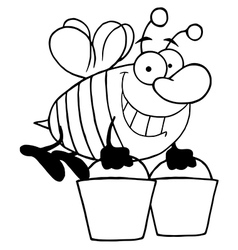 Royalty free rf clipart happy honey bee flying vector