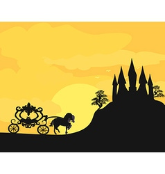 Carriage at sunset silhouette of a horse carriage vector