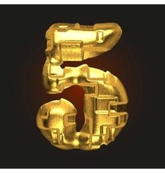 Golden letter 5 vector