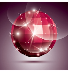 Party dimensional red sparkling disco ball created vector