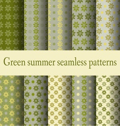 Green summer seamless patterns vector