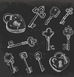 Set of isolated keys in sketch style on dark vector