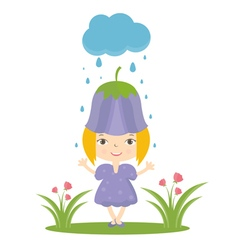 Happy small girl in flower hat vector