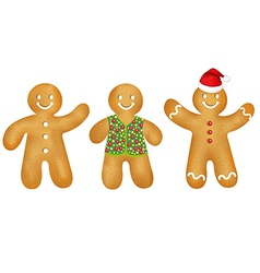 Gingerbread mans set vector