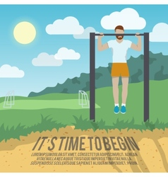 Man on pull-up bar fitness poster vector