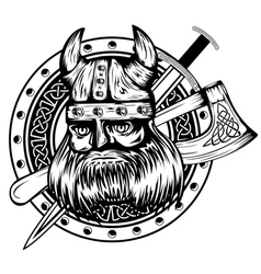 Viking board sword and axe vector