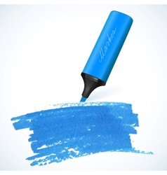 Blue marker with drawn spot vector