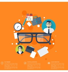 Flat background with papers and glasses icon vector