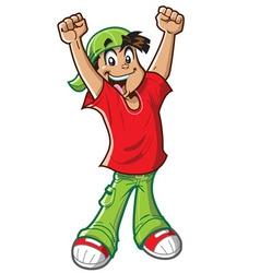 Happy cheering boy vector