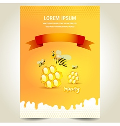 Cover poster face honey mead bee honeycomb yellow vector