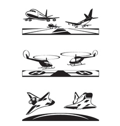 Air transportation set vector