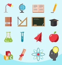 Education flat icon design set vector