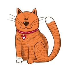 Cute character cat with heart on collar vector
