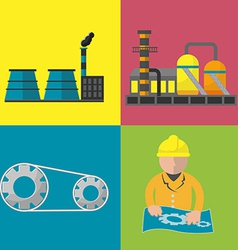 Industry factory flat icon set vector