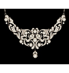 Necklace womens wedding with precious stones vector