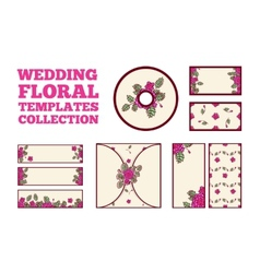 Wedding floral template collection vector