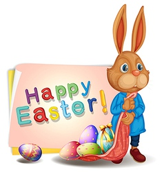 A happy easter greeting with bunny and eggs vector