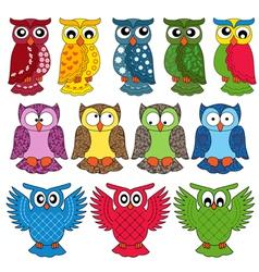 Set of twelve owls vector