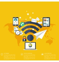 Wi fi iconcloud computing social media network vector