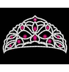 Tiara crown womens wedding with red stones vector